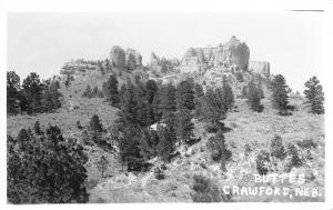 Crawford NE Ain't They Some Buttes~A Few Trees Shy of Being Barren RPPC 1940s