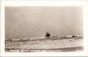 Steamer 'Bentson' Stranded near Ilwaco WA c1945 RPPC Postcard F26