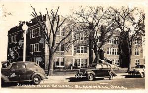 Blackwell Oklahoma~Junior High School~Ladies on Steps~Boys in Yard~40s Cars~RPPC
