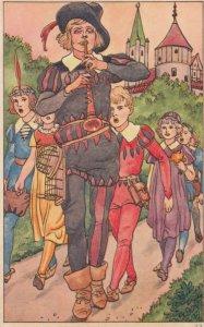 Pipe Piper leading children , 1910-20s