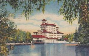 Colorado Pikes Peak Region Vista Of the Broadmoor Hotel From The Lake 1957
