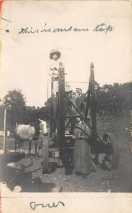 Real Photo Postcard~Edith & I~My Pony~Paint Jacks Well Drill~Sunbonnet~1908 RPPC