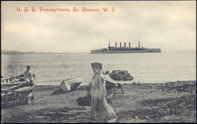 St. Vincent, W.I., Armored Cruiser No. 4 U.S.S. Pennsylvania (1910s)