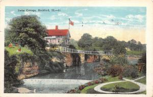 Rockford Illinois~Swiss Cottage View~Suspension Bridge-River Dam~Park?~1929 PC