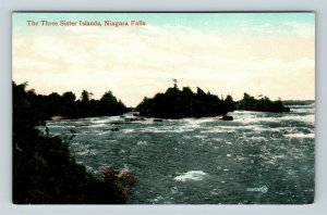 Niagara Falls NY, Three Sisters Island, Rapids, Vintage New York Postcard