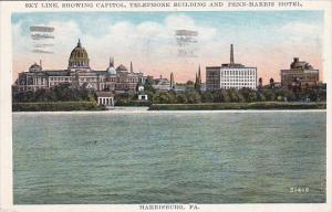 Pennsylvania Harrisburg Sky Line Showing Capitol Telephone Building And Penn ...