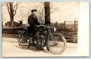 RPPC Man w/Wire Rim Glasses Shows Off A Harley Davidson Motorcycle~Closeup~c1910