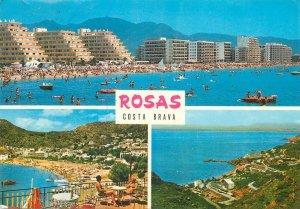 Postcard Spain Costa Brava Rosas several aspects and views