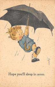 Charles Twelvetrees~Hope You'll Drop In Soon~Boy Carried Away By Umbrella~Storm
