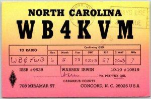 Concord, North Carolina Postcard QSL Amateur Ham Radio Card Warren Irwin 1978