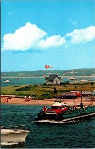 "Postcard Car Ferry ""On Time"" Chappaquiddick Island Edgartown Massachusetts 1950s"