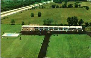 Postcard WV Martinsburg Aerial View Motel 81 & Dinning Room Pool I-81 1987 K10