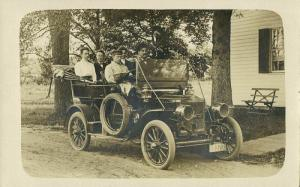 Old Car with Massachusetts License Plate (1910s) RPPC Postcard
