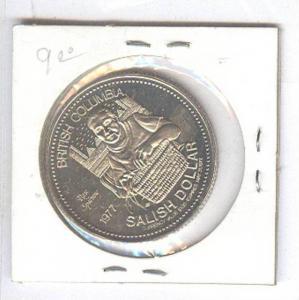 1977 SALISH DOLLAR Coin , British Columbia , Canada : Khahtsahlano