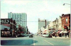 APPLETON, Wisconsin Postcard COLLEGE AVENUE Downtown Street Scene c1950s Unused