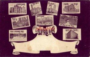 Pre-1907 - nine views of BUFFALO, NY. incl. Main St, Ivy Arch & Delaware Park.