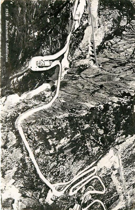 Andermatt Schollenen Switzerland aerial view RPPC Postcard