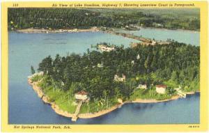 Lake Hamilton, Showing Lakeview Court, Hot Springs National Park, 1953 Linen