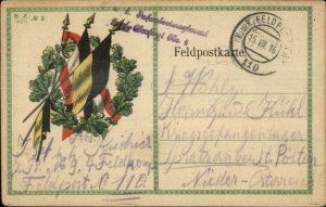 WWI German Flags & Wreath Military Feldpost Cancel 1916 Postcard