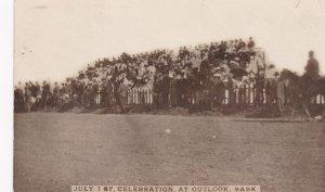 RP: OUTLOOK, Saskatchewan, Canada, 1900-10s; Crowd in bleechers, July 1st Cel...