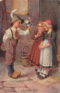Von Th. Matthei~Lil Boy Offers Flowers to Two Shy Girls~First A Kiss~Germany