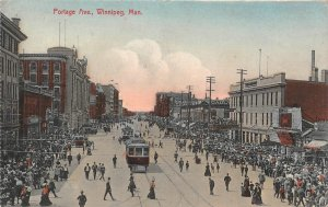Portage Avenue Street Scene Winnipeg, Manitoba Canada 1911 Hand-Colored Postcard