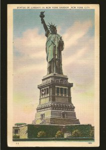 USA Postmark 1951 New York NY The Statue of Liberty Linen Postcard