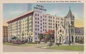Florida Pensacola Saint Michaels Church And San Carlos Hotel 1948