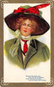 A Heinze~Lady With Red Feather In Hat~Green Traveling Suit~1911 Postcard~Ser 67