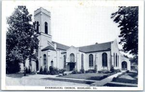 Highland, Illinois Postcard EVANGELICAL CHURCH Building / Street View c1940s