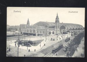 HAMBURG HAUPTBAHNJOF RAILROAD DEPT TRAIN STATION ANTIQUE VINTAGE POSTCARD