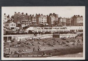 Sussex Postcard - Aquarium & Beach From The Pier, Brighton    T7878