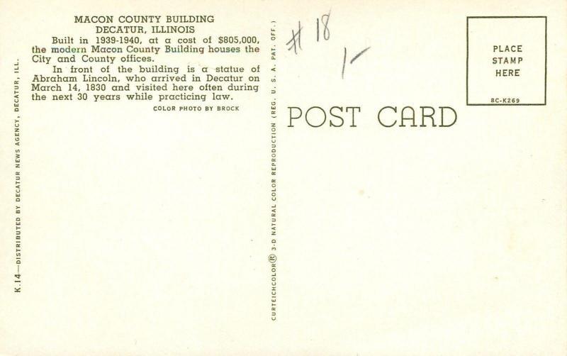 Decatur Illinois~Macon County building~1950-60s Postcard