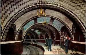 New York City Hall Subway Station~Boys Sit by Tracks~Engineers Oblivious c1910