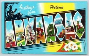 Helena Arkansas~State Large Letter CHROME Postcard~Hillbilly Silhouette~1961
