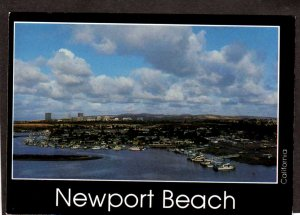 CA View Newport Beach Boats California Postcard PC