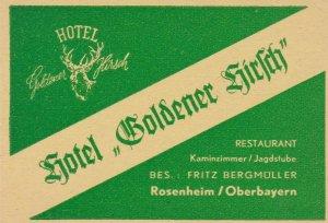 Germany Rosenheim Hotel Goldener Hirsch Vintage Luggage Label sk3127