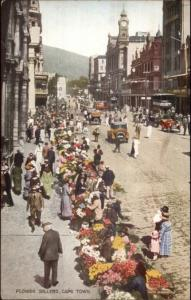 Cape Town South Africa Flower Sellers Street Scene c1920 Postcard