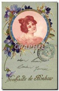 Old Postcard Fantasy Flowers Woman