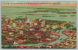 Miami FL~Downtown Miami Miami River & Biscayne Bay From Air~Vintage PC