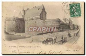 Nantes - Le Chateau view from the station - Old Postcard