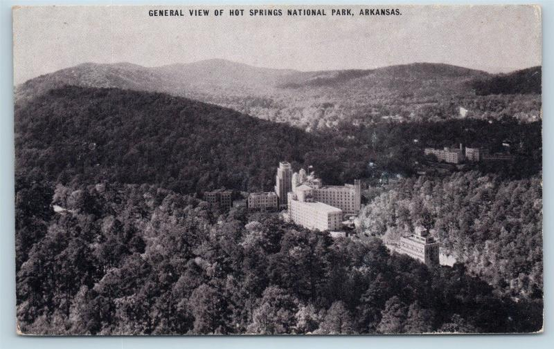 Postcard AR Hot Springs General Airview Hot Springs National Park Conoco Gas B03