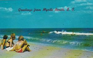 South Carolina Greetings From Myrtle Beach Girls Watching Surfers 1972