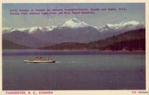 C.P.R. STEAMER VANCOUVER B. C. CANADA PASSES POINT ATKINSON LIGHTHOUSE