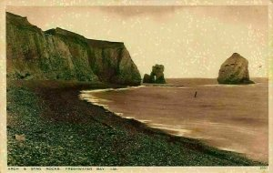 Isle of Wight Arch & Stag Rocks Freshwater Bay Postcard