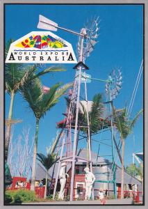 Human Factor figures set against a rural backdrop at World Expo 88.,  Austral...