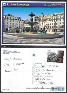 Portugal Lisbon King Pedro IV Square, mailed to USA