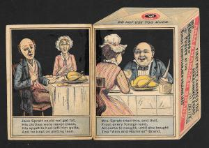 VICTORIAN TRADE CARD Die-cut Arm & Hammer Soda Box Jack Spratt & Wife