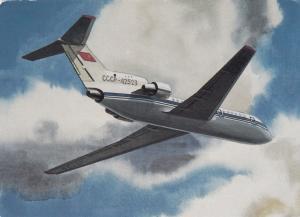 Soviet Airlines YAK-42 in flight, 60-80s