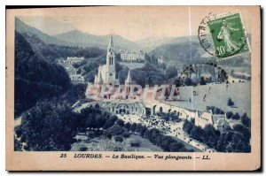 Old Postcard Lourdes Basilica View from above